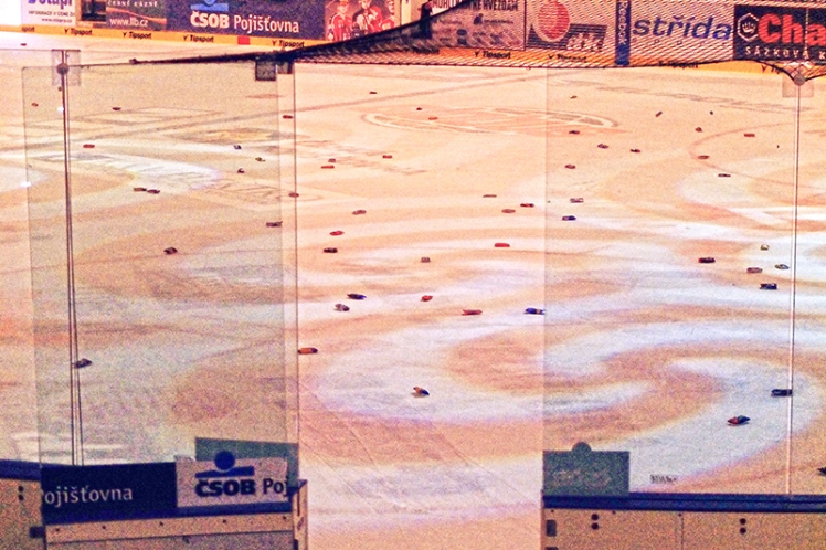 The ice is littered with what seem to be ice creams after the final whistle.