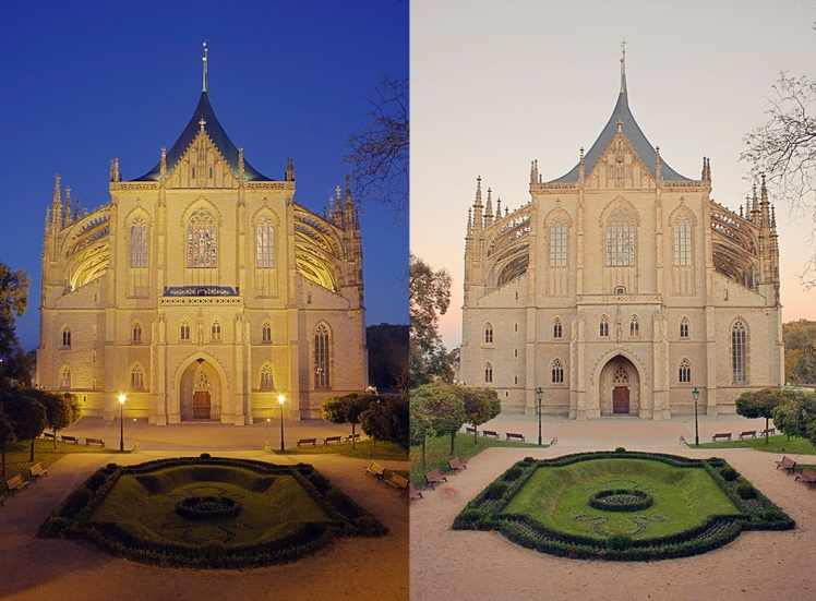 Kutna Hora Cathedral exterior night and day