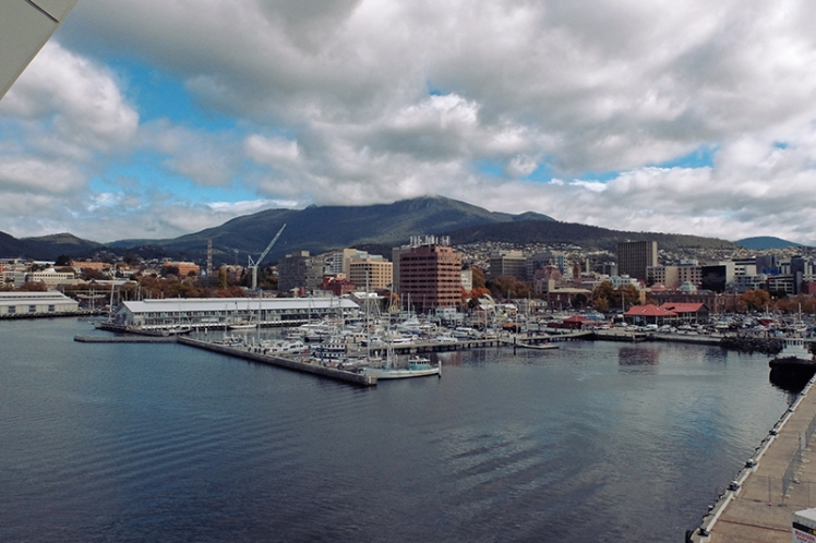 Hobart's delightful waterfront is the view the crew of the Canberra get to enjoy.