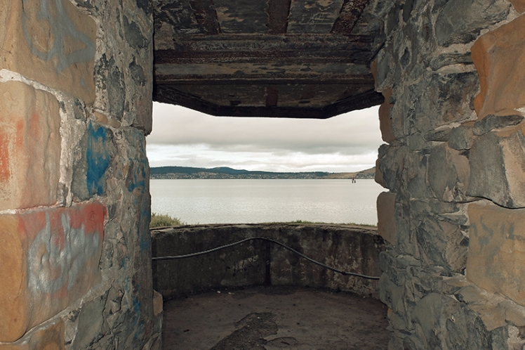 The view across the estuary from inside one of the old structures.