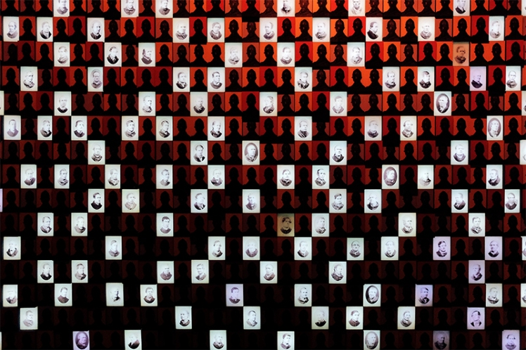 This interesting display shows you the faces of the people who were detained here.