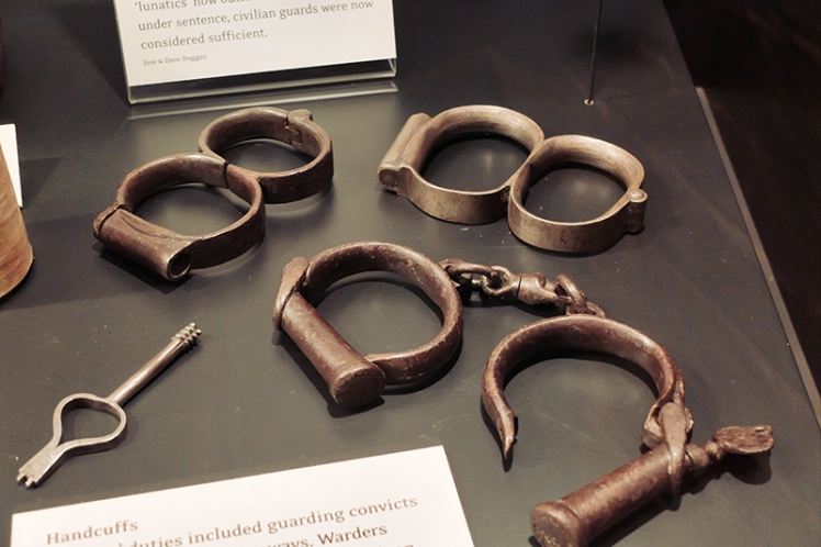 Handcuffs on display in the museum inside the mental asylum building.