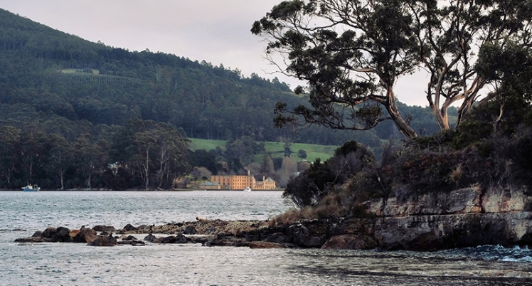 A view back towards Port Arthur from the far side of the Isle of the Dead.