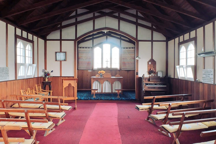 Inside St. David's Church, the smaller of the two religious buildings on site.