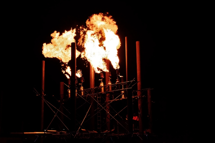 The Fire Organ spews out its flaming beats.