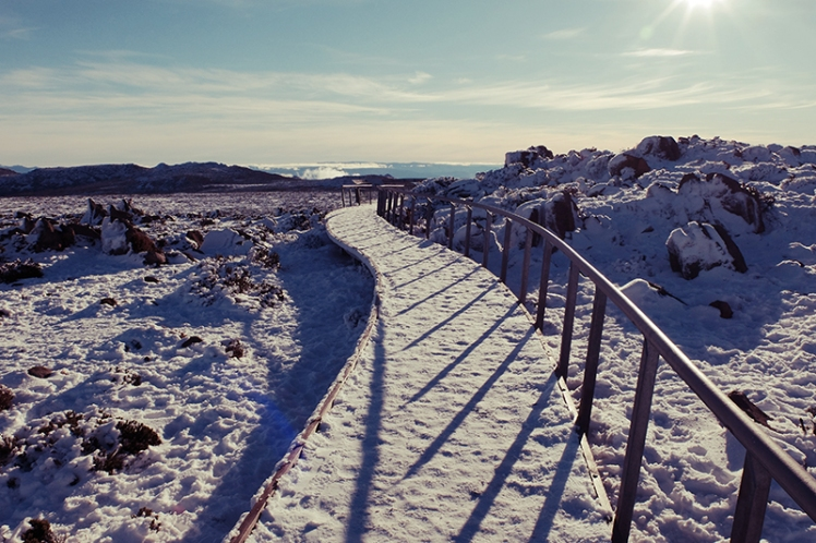 The walkway which people would usually use to get around the summit.