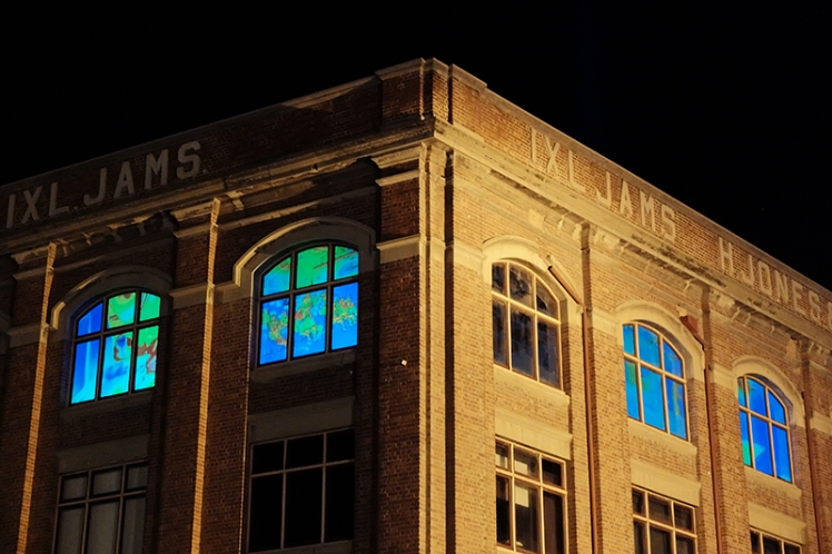The Radiant Heat exhibit was projected onto the windows of the Centre for the Arts.