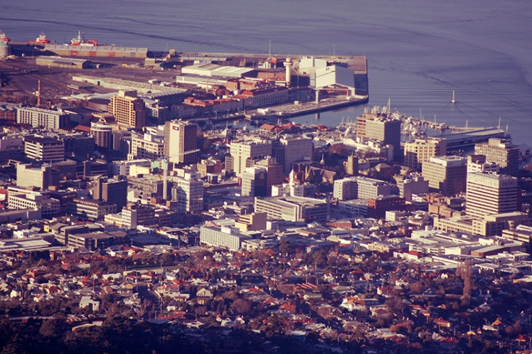 Downtown Hobart's as seen from the summit of Mount Wellington.