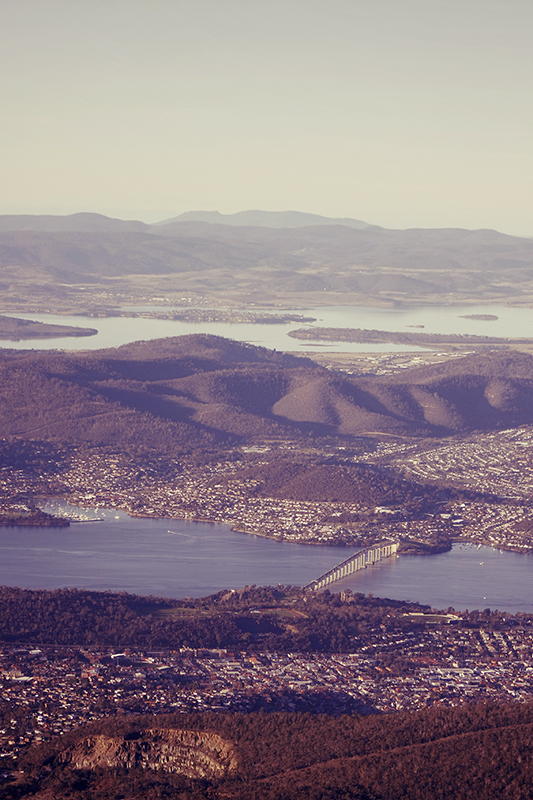 The Tasman bridge stretches across the Derwent estuary connecting the city with the eastern shore.