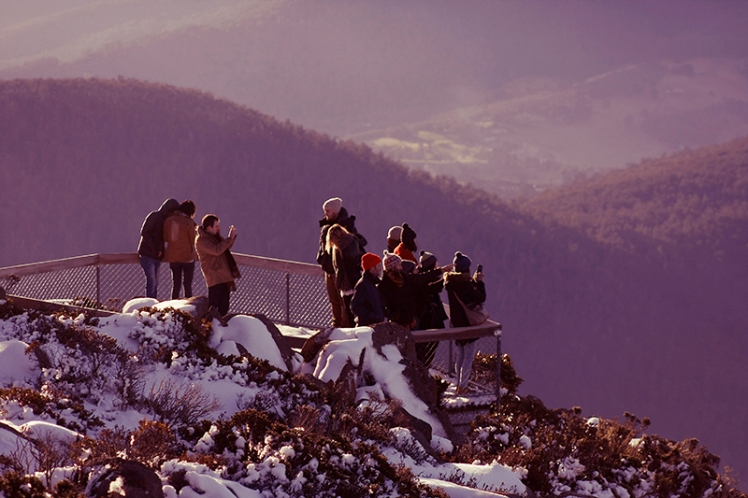 A group of visitors takes in the amazing views from one of the platforms overlooking Hobart.