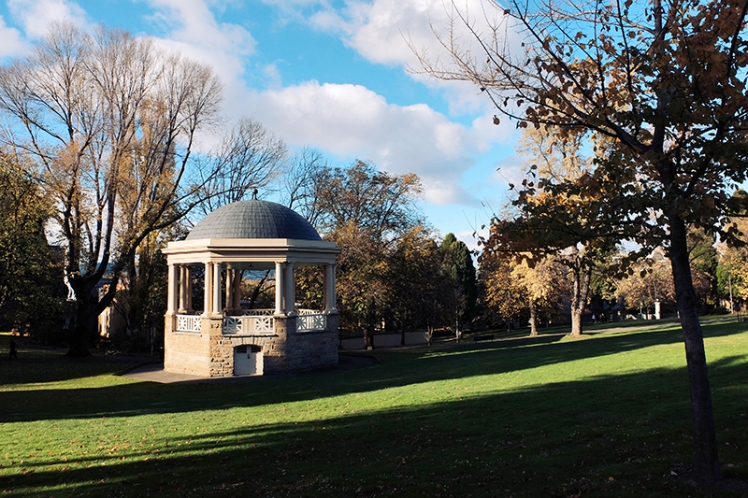 The next spot on the tour is the serene calmness of St. Davids Park (13), an oasis of peace right in the heart of the city. It was once a graveyard and evidence of that can be seen on the eastern edge where the original gravestones are preserved in a memorial wall.