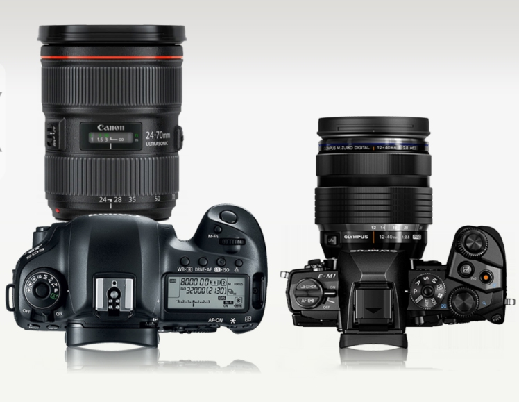 Canon 5D vs Olympus E-M1 Camerasize