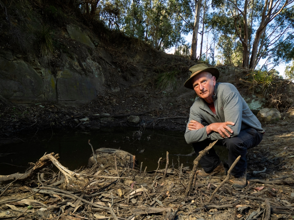 Professor David Bowman kneeling down next to a pond on Knocklofty Reserve, Hobart.